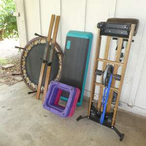 Lot # 132 -  Fitness Lot ( NordicTrack Pro, Trampoline & Step Up Workout Risers)