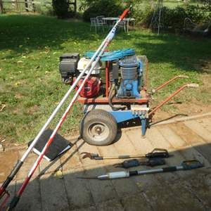 Lot # 134 -  RP Paterlini Air Compressor w/ Honda Motor and A Variety of Pneumatic Garden Tools