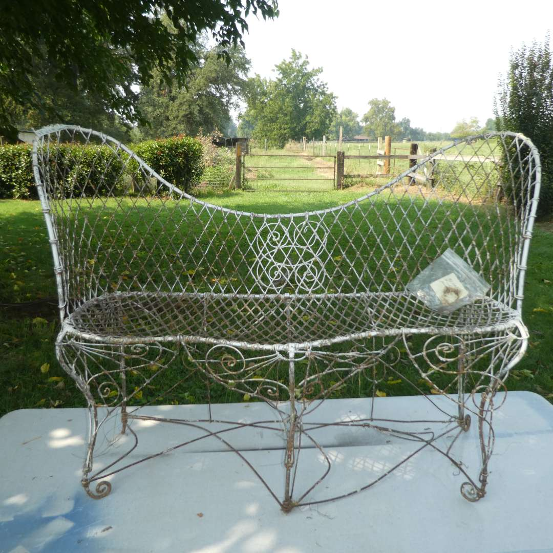 Lot # 136 - Vintage Ornate Hand Crafted Metal Garden Bench   (main image)