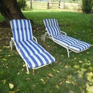 Lot # 137 - Pair of Vintage Cast Metal Adjustable Lounge Chairs