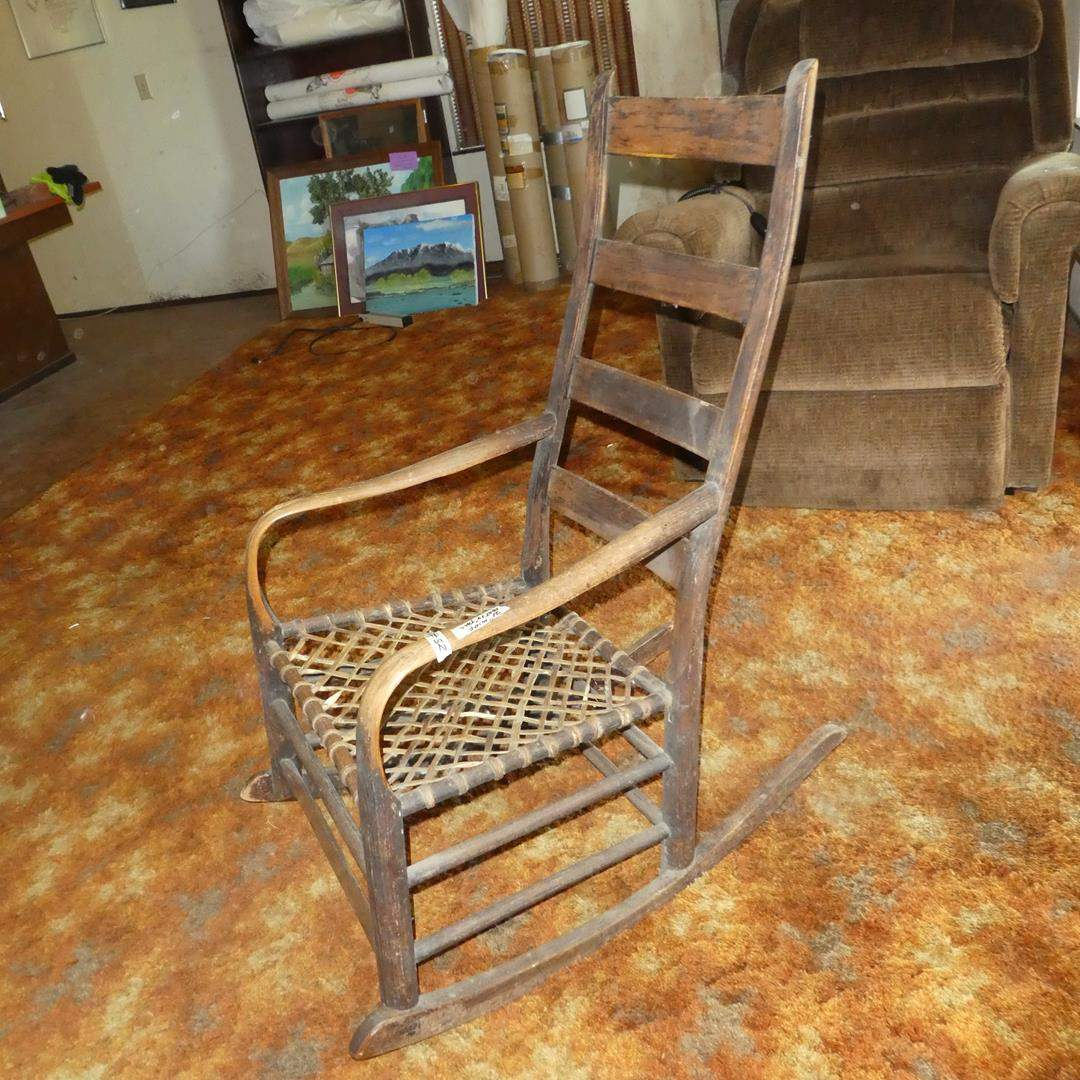 Lot # 52 - Antique Wooden Rocking Chair w/Rawhide Strap Seat (main image)