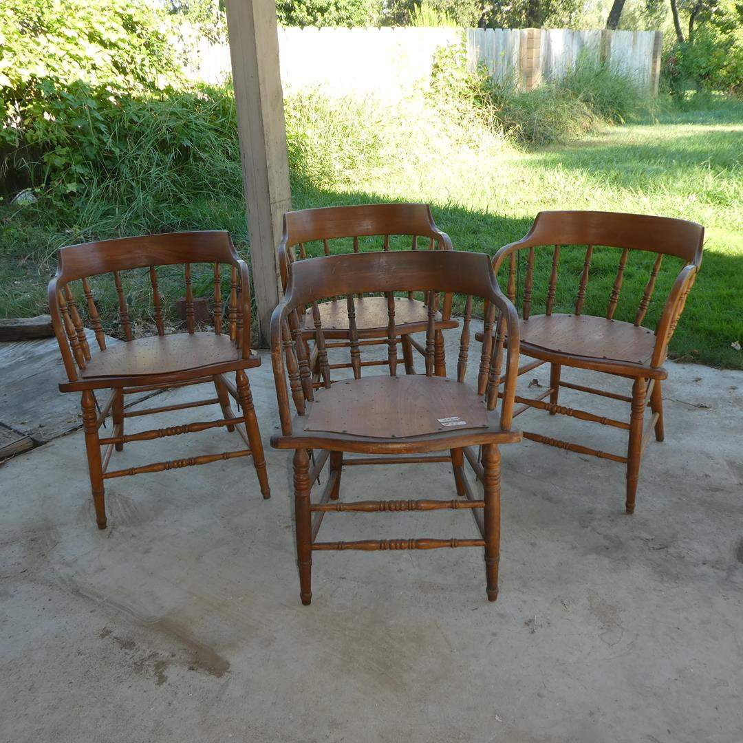 Lot # 53 - Four Vintage Wooden Dining Chairs (main image)