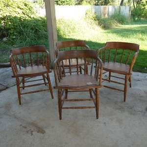 Lot # 53 - Four Vintage Wooden Dining Chairs