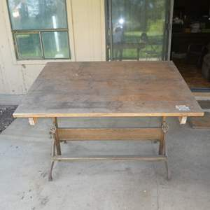 Lot # 54 - Vintage/Antique Dietzgen Drafting Table, Iron and Wood - Adjustments All Work