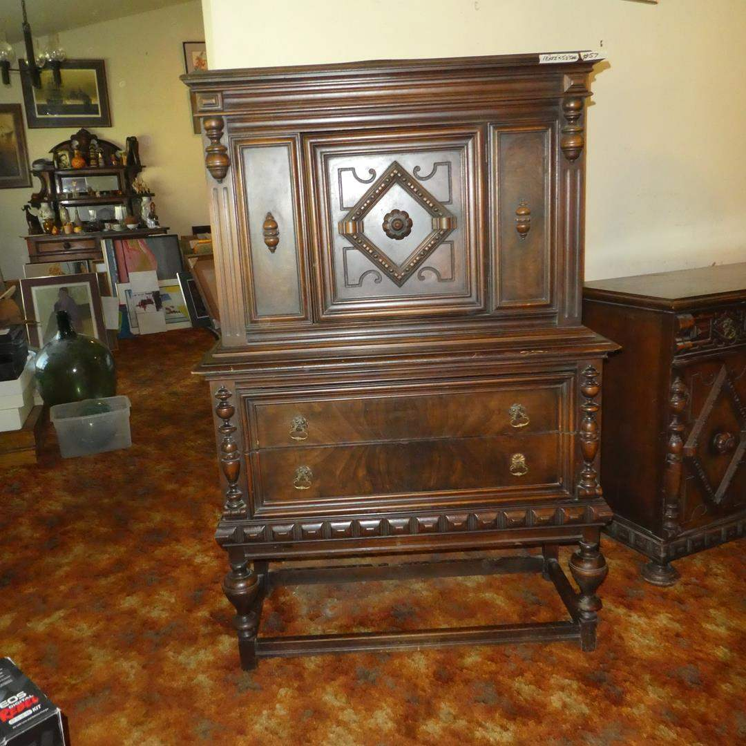 Lot # 57 - Unique Antique Wooden China Cabinet (Dovetailed Drawers) (main image)