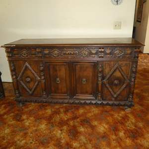 Lot # 58 - Unique Antique Wooden Buffet/Sideboard (Dovetailed Drawers)
