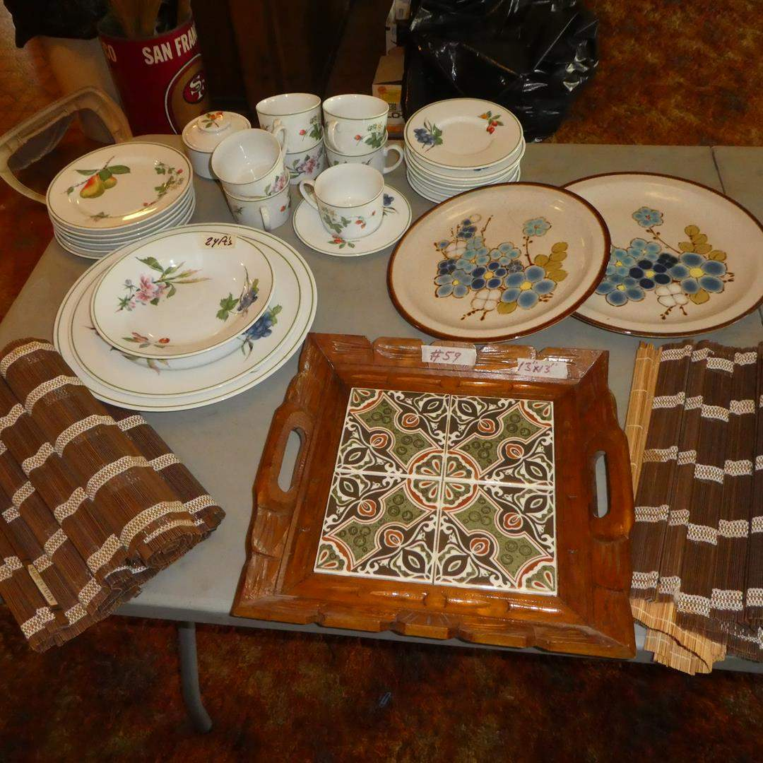 Lot # 59 - Tile Top Tray, Made in Japan Bamboo Placemats & Savoir Vivre Dishes (main image)