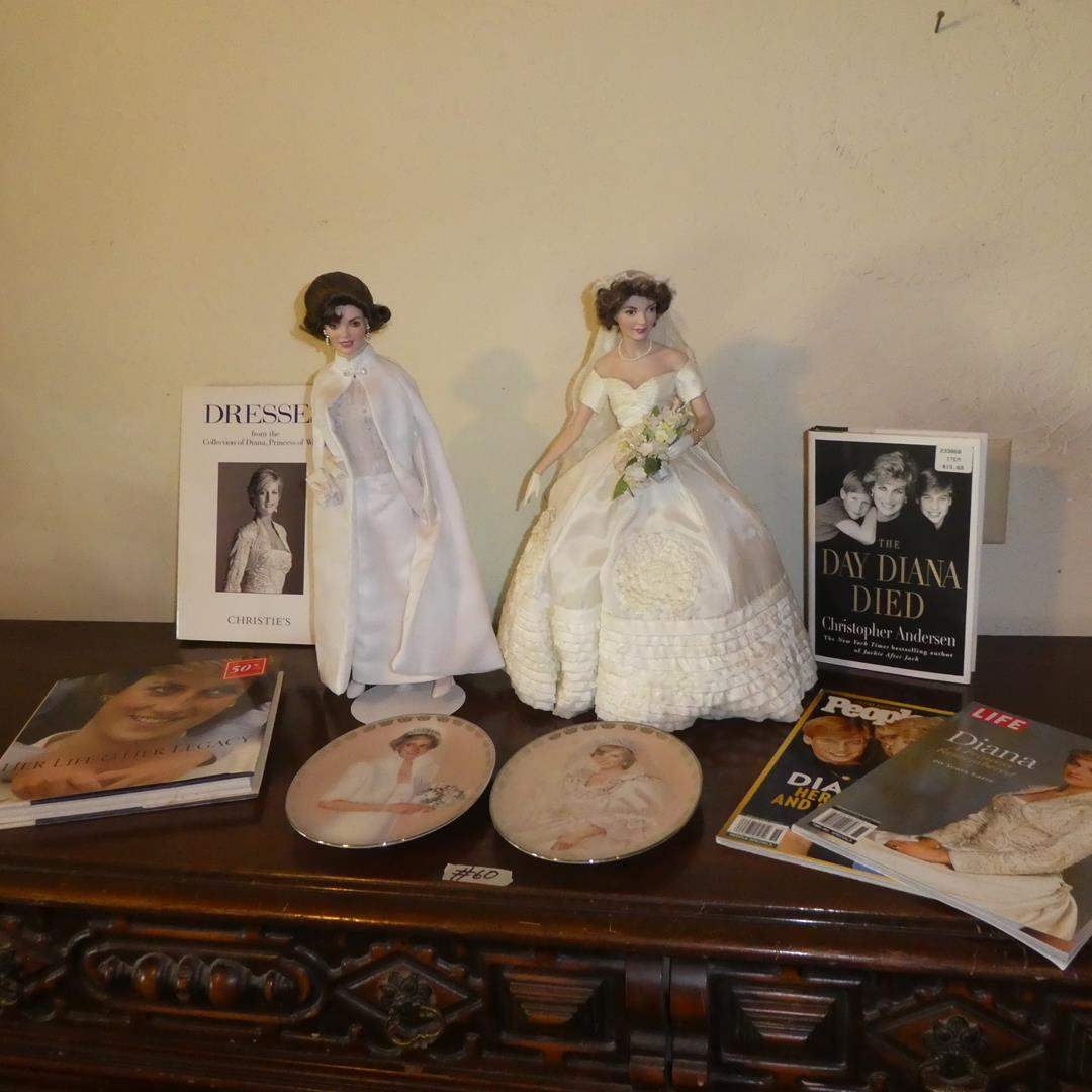 Lot # 60 - Two Jackie Kennedy Porcelain Dolls, Princess Diana Collector Plates & Books (main image)