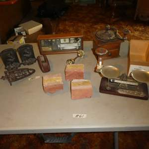 Lot # 61 - Vintage SF Cal Sadiron Stand, Cast Iron 'The Thinker' Bookends, Ca. State Capitol Bricks, Eastman Scale & More