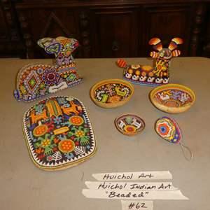 Lot # 62 - Vintage Beaded Huichol Peyote Mask, Figurines & Mini Ceremonial Gourd Bowls