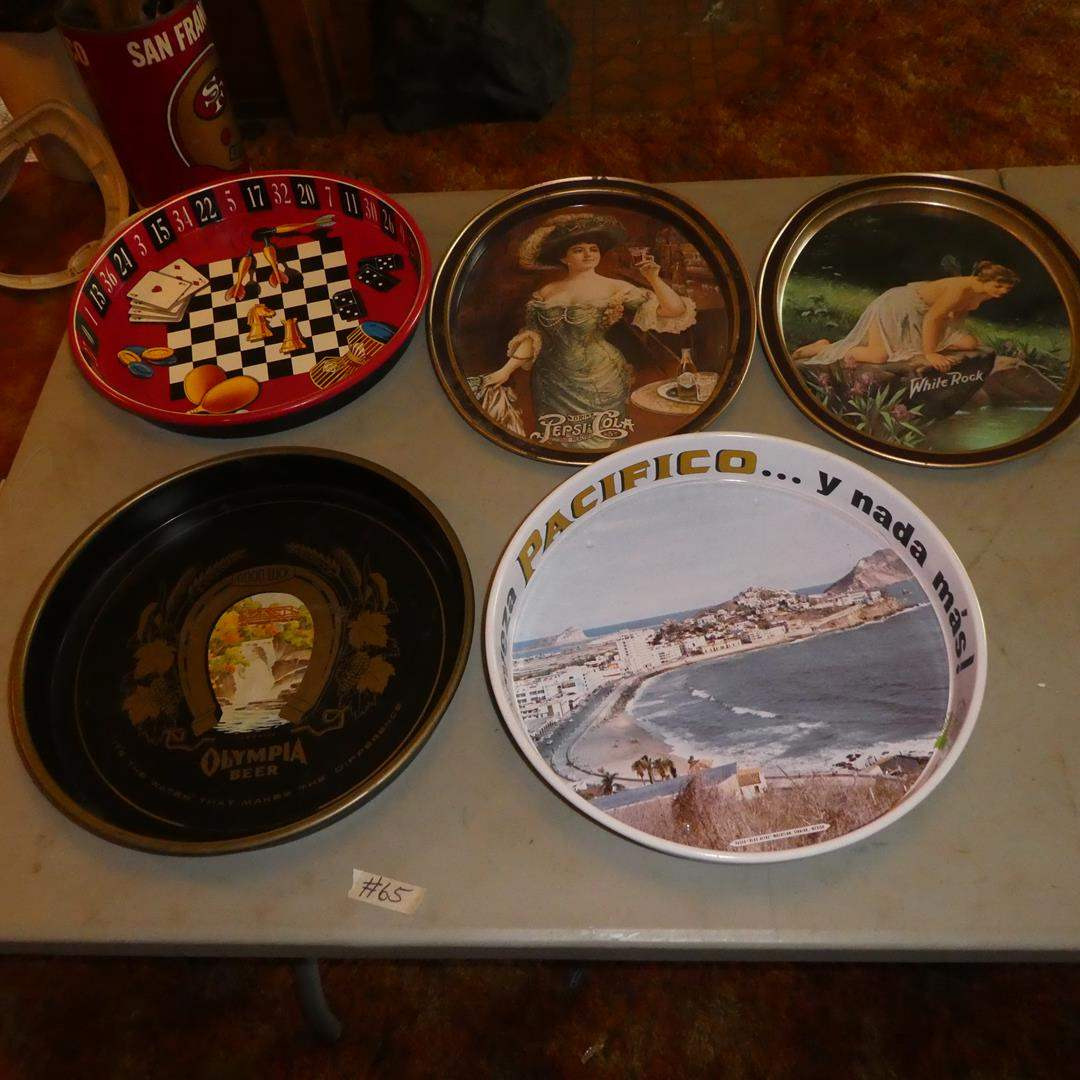 Lot # 65 - Vintage Metal Beer & Pepsi Serving Trays (main image)