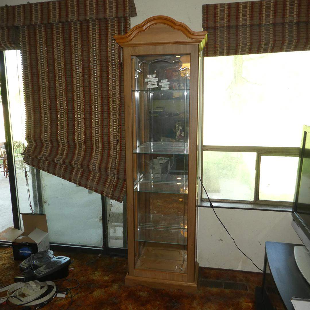 Lot # 66 - Lighted Mirrored Back w/Side Opening Curio Display Cabinet (main image)