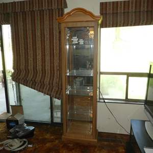 Lot # 66 - Lighted Mirrored Back w/Side Opening Curio Display Cabinet