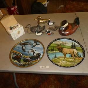 "Lot # 68 - Signed Duck & Elk Beer Trays, Ducks Unlimited ""Lac La Croix"" 393 Wood Sculpture, Mini Signed Ducks & Brass Duck"
