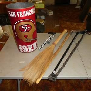Lot # 70 - San Francisco 49ers Trash Can & Walking Sticks/Canes