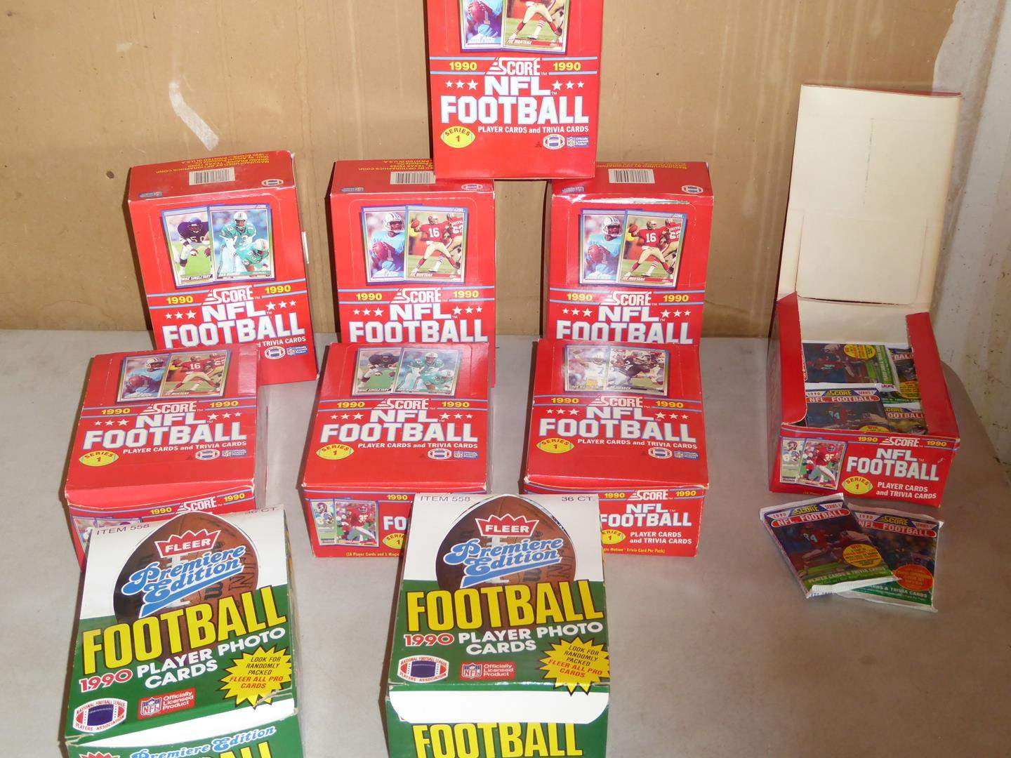 Lot # 400 - 10 Boxes 1990 Score & Fleer NFL Football Player Cards (main image)