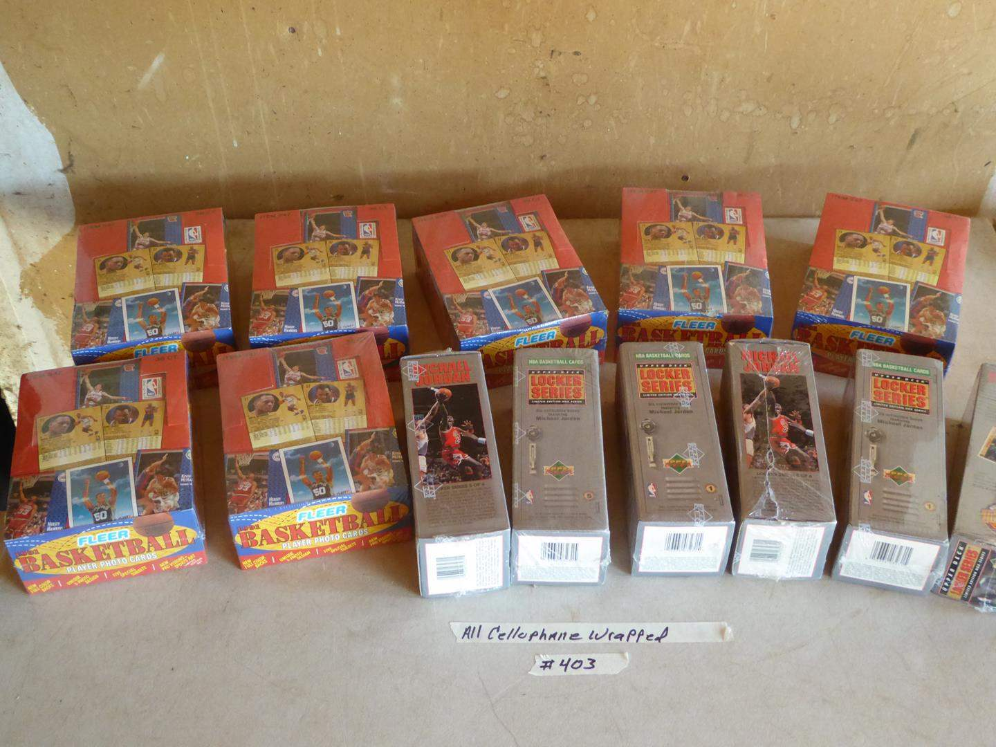 Lot # 403 - 13 Boxes Cellophane Wrapped Basketball Cards (main image)