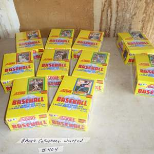 Lot # 404 - 10 Boxes Score 1990 Baseball Cards (8 Boxes Cellophane Wrapped)