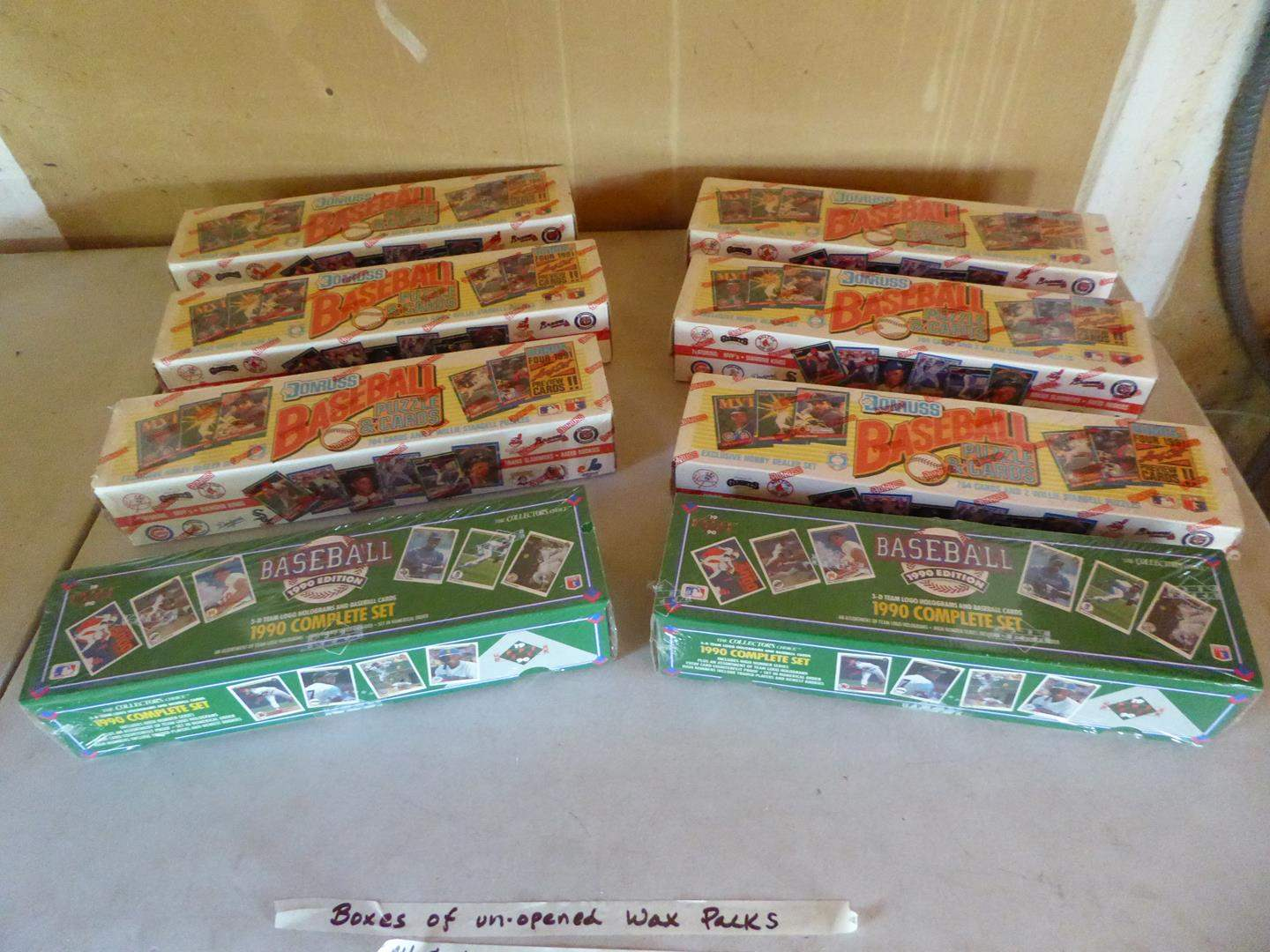 Lot # 405 - 8 Boxes of Unopened Baseball Wax Packs - All Cellophane Wrapped (main image)