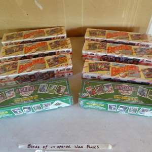 Lot # 405 - 8 Boxes of Unopened Baseball Wax Packs - All Cellophane Wrapped