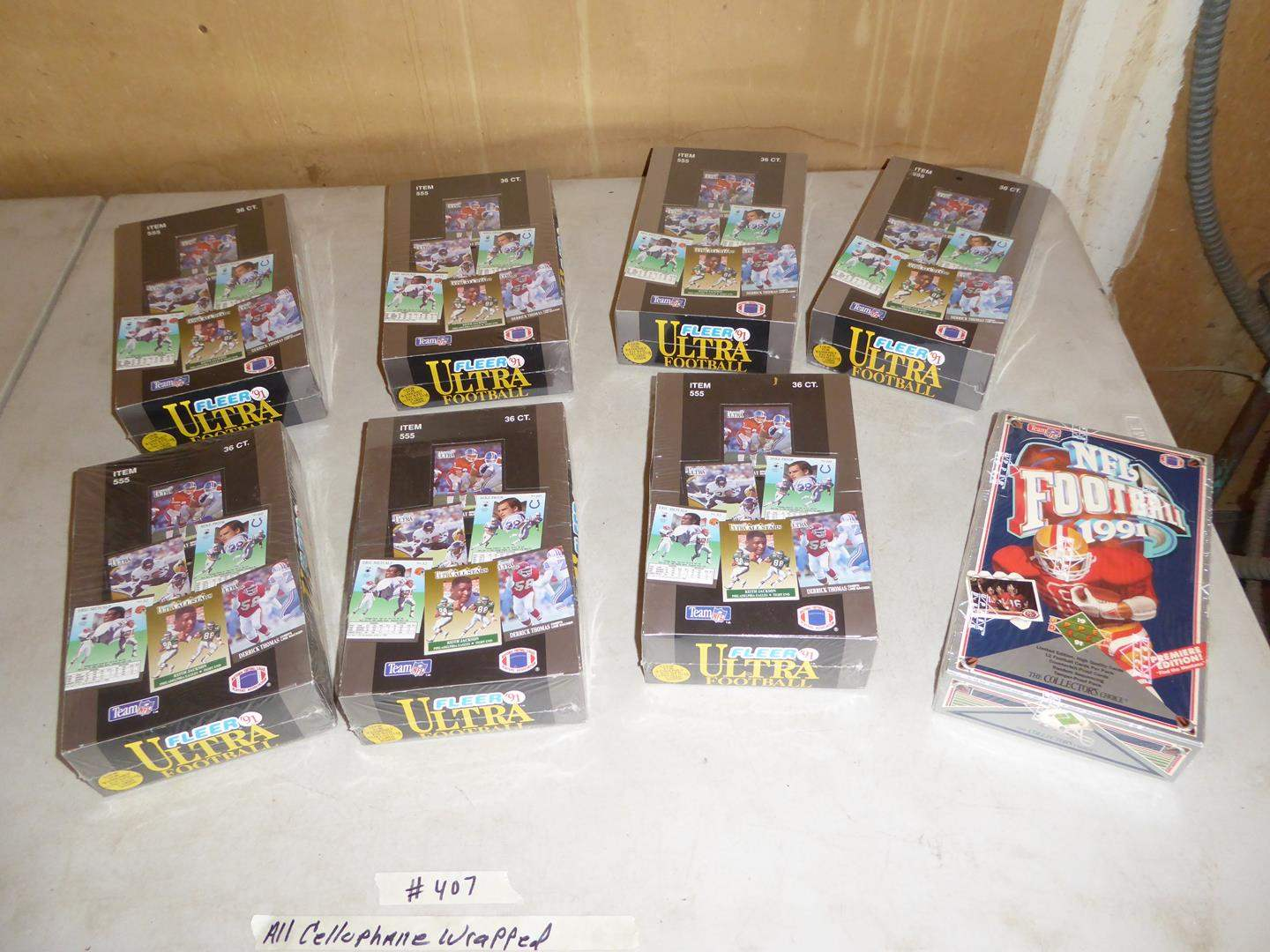 Lot # 407 - 8 Boxes Football Cards - All Cellophane Wrapped (main image)