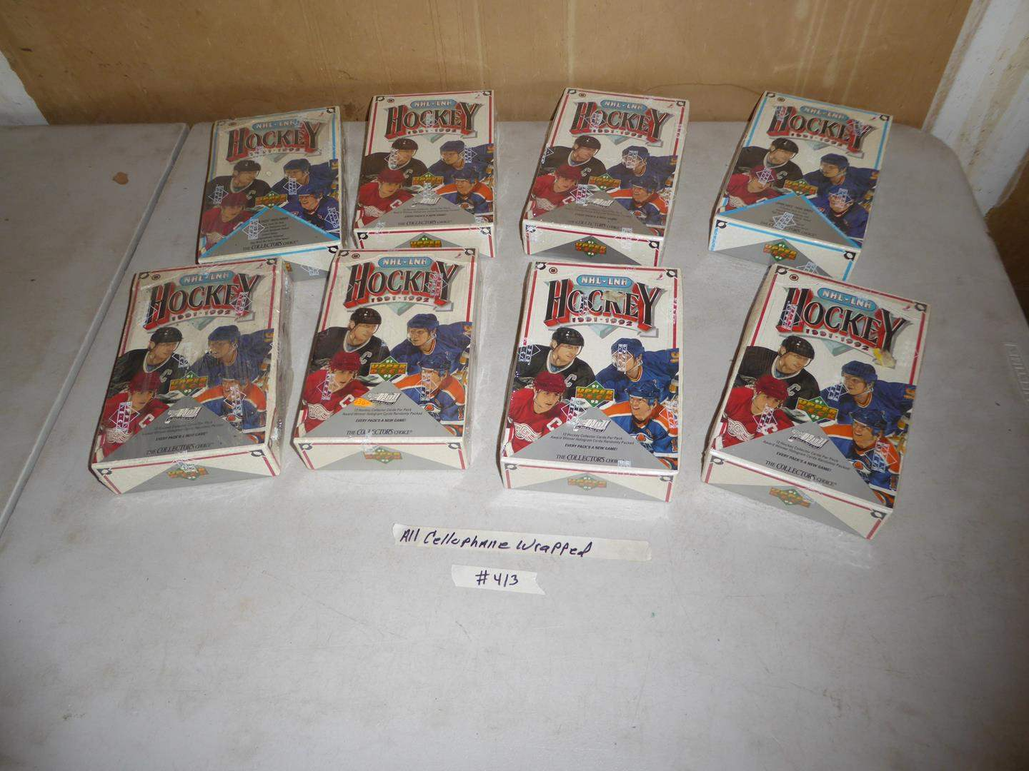 Lot # 413 - Eight Boxes Cellophane Wrapped Hockey Cards 1991-1992 (main image)