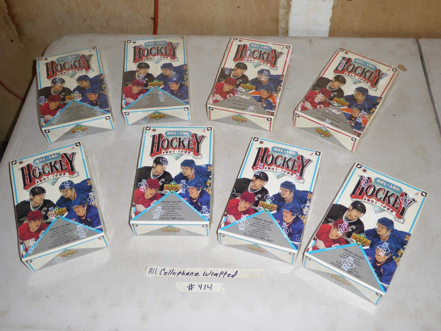 Lot # 414 - Eight Boxes Cellophane Wrapped Hockey Cards 1991-1992 (main image)