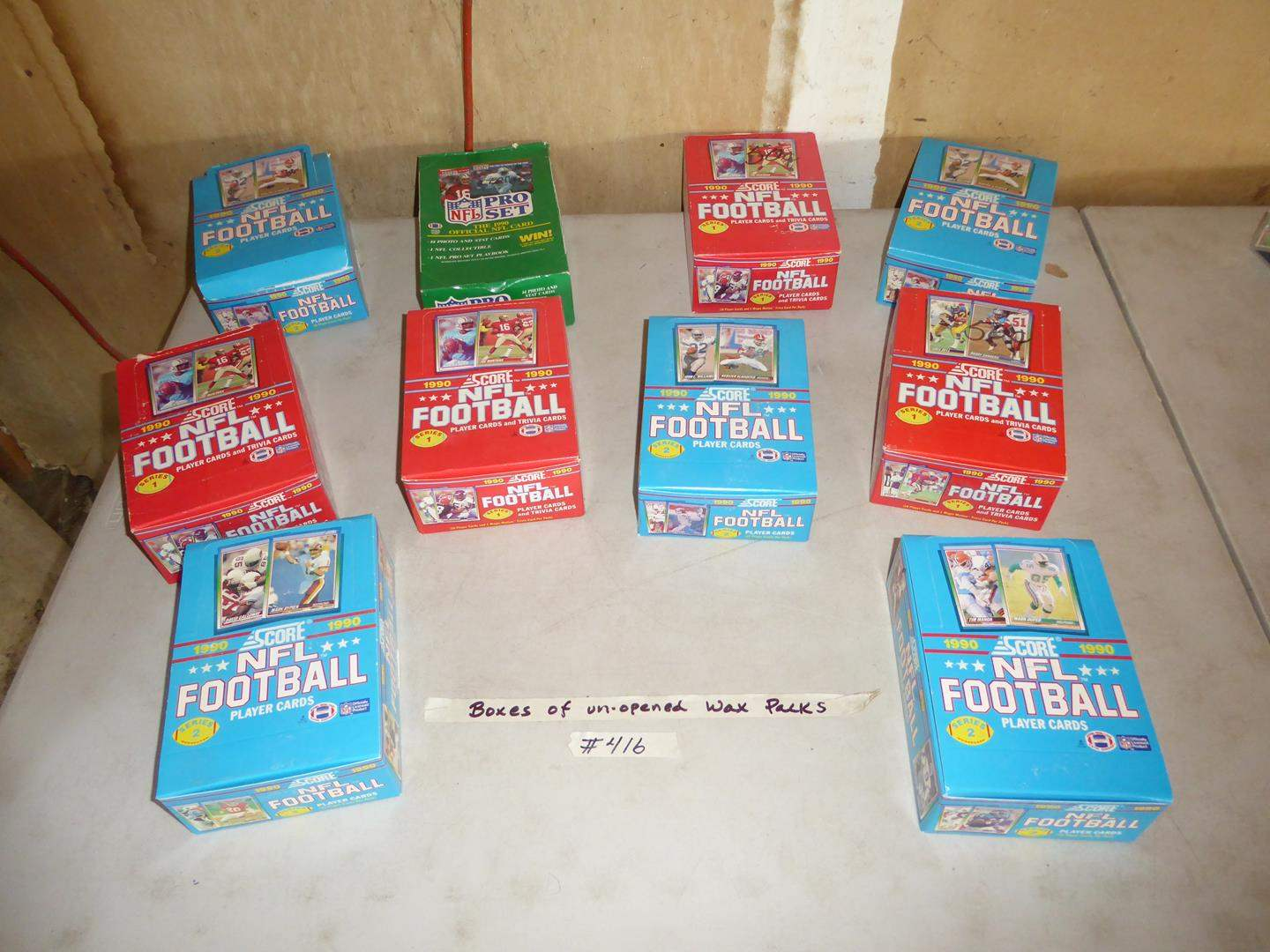 Lot # 416 - 10 Boxes Unopened 1990 NFL Football Cards Wax Packs (main image)