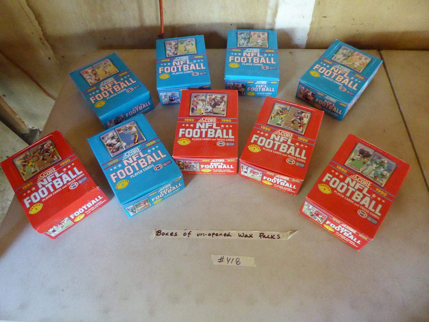 Lot # 418 - 9 Boxes Unopened Wax Packs 1990 NFL Football Cards (main image)