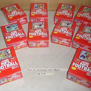 Lot # 419 - 10 Boxes Unopened Wax Packs 1990 NFL Football Cards