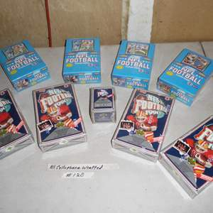 Lot # 420 - 9 Boxes Cellophane Wrapped NFL Football Cards 1990-1991
