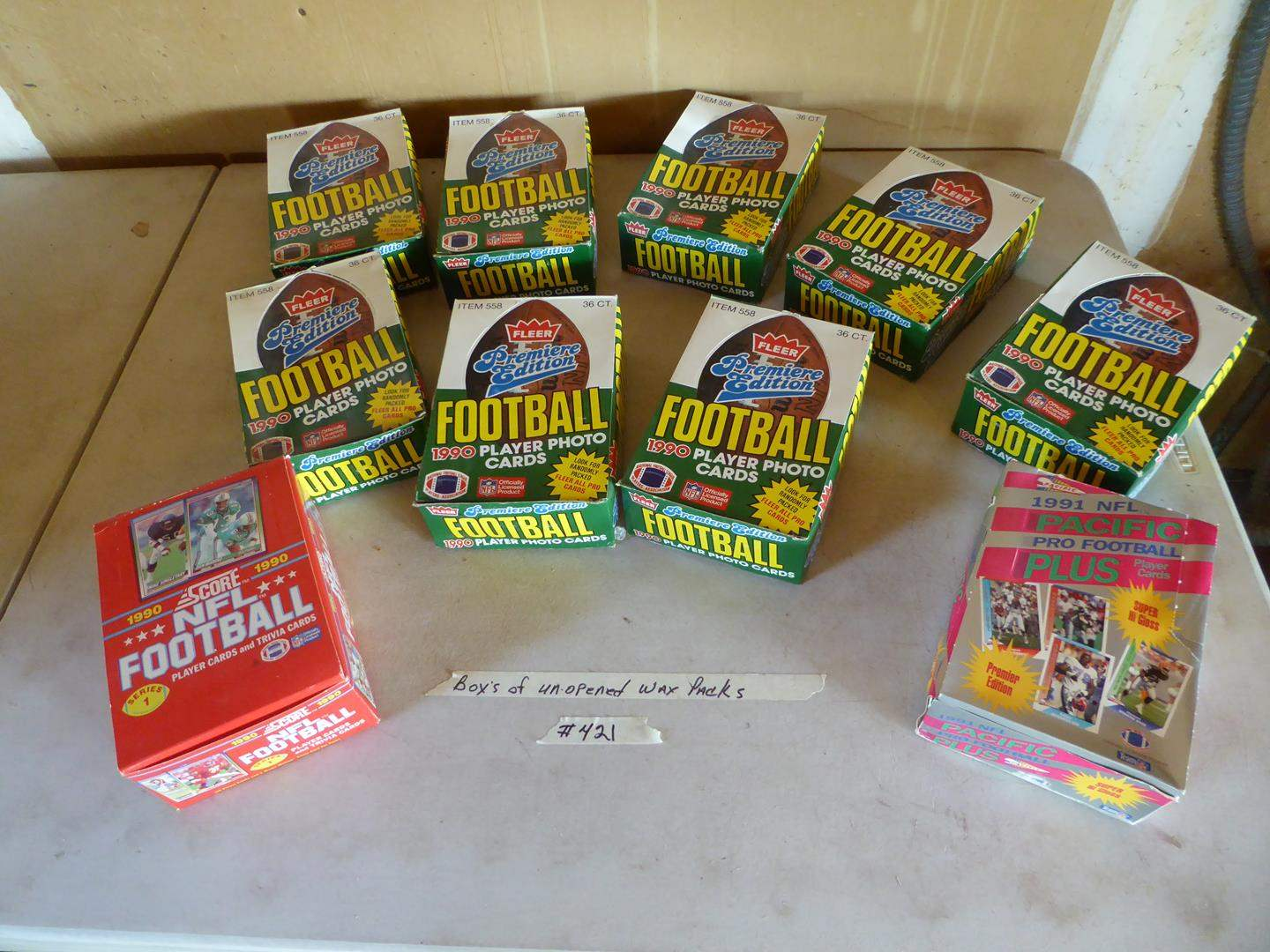 Lot # 421 - 10 Boxes NFL Football Cards Unopened Wax Packs 1990-1991 (main image)