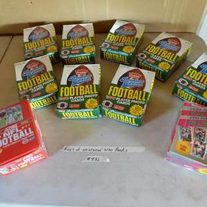 Lot # 421 - 10 Boxes NFL Football Cards Unopened Wax Packs 1990-1991