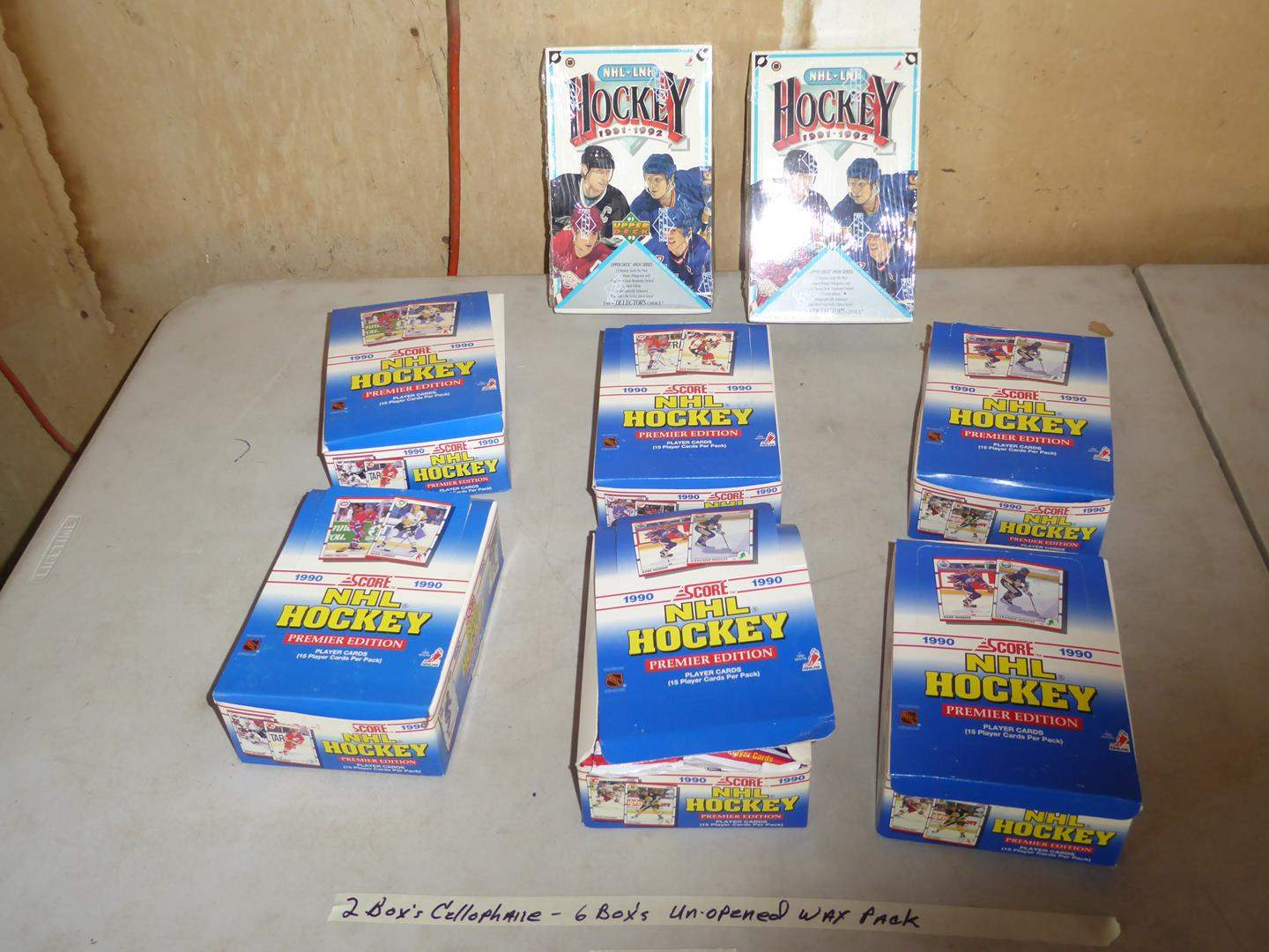 Lot # 422 - 8 Boxes Hockey Cards 1990 -1992 (2 Boxes Cellophane Wrapped & 6 Boxes Unopened Wax Packs) (main image)