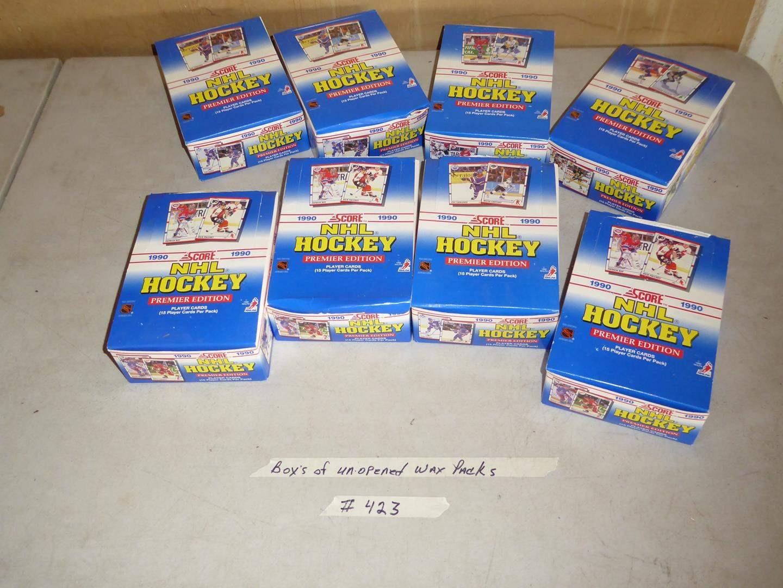 Lot # 423 - 8 Boxes Hockey Cards 1990 Unopened Wax Packs (main image)