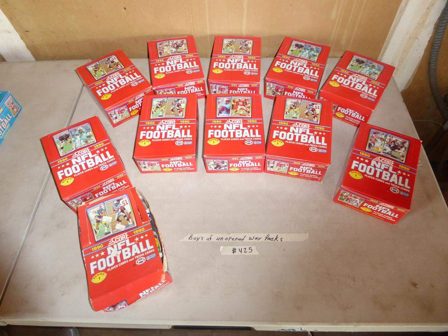 Lot # 425 - 11 Boxes 1990 NFL Football Cards Unopened Wax Packs (main image)