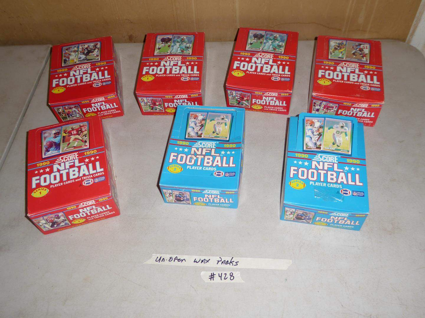 Lot # 428 - 7 Boxes 1990 NFL Football Cards Unopened Wax Packs (main image)