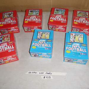 Lot # 428 - 7 Boxes 1990 NFL Football Cards Unopened Wax Packs
