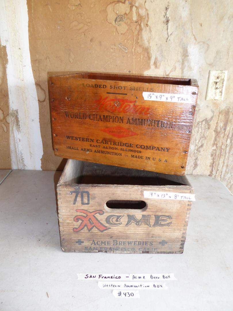 Lot # 430 - Vintage Western Cartridge Company Ammunition Crate & Acme Breweries San Francisco Crate  (main image)
