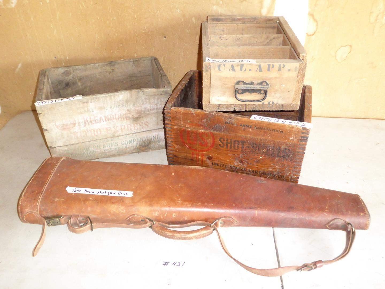 Lot # 431 - 3 Old Wooden Ammunition Crates & Takedown Shotgun Case (main image)