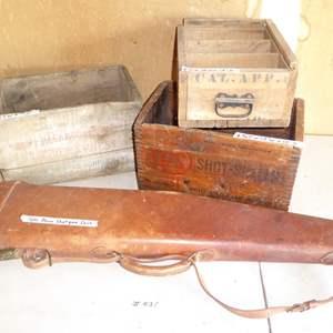 Lot # 431 - 3 Old Wooden Ammunition Crates & Takedown Shotgun Case