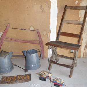 Lot # 434 - Old Ca. License Plate, Branding Iron, Enamelware Coffee Pots, Old Saw & Primitive Wooden Chair