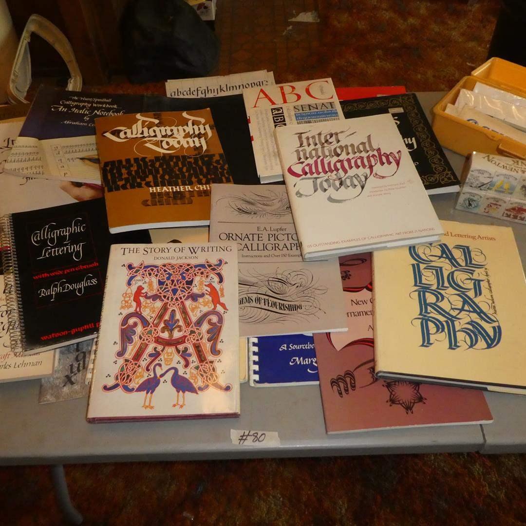 Lot # 80 - Assortment of Calligraphy Books, Windsor & Newton Ink & Grumbacher Artist Brushes (main image)