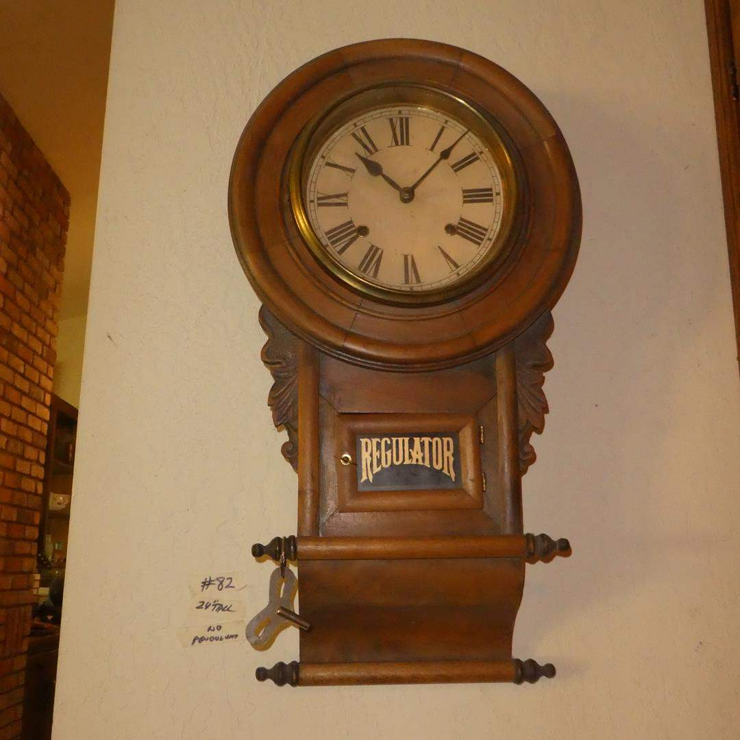 Lot # 82 - Antique Circa 1900 Regulator Pendulum Wall Clock w/Key (Missing Pendulum) (main image)