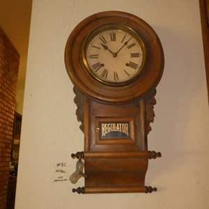 Lot # 82 - Antique Circa 1900 Regulator Pendulum Wall Clock w/Key (Missing Pendulum)