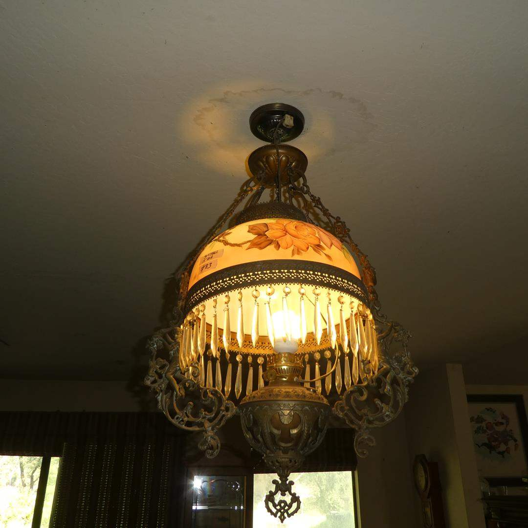 Lot # 83 - Wonderful Antique Victorian Electrified Hanging Oil Lamp w/Hand Painted Glass Shade & Ornate Brass Detail (main image)