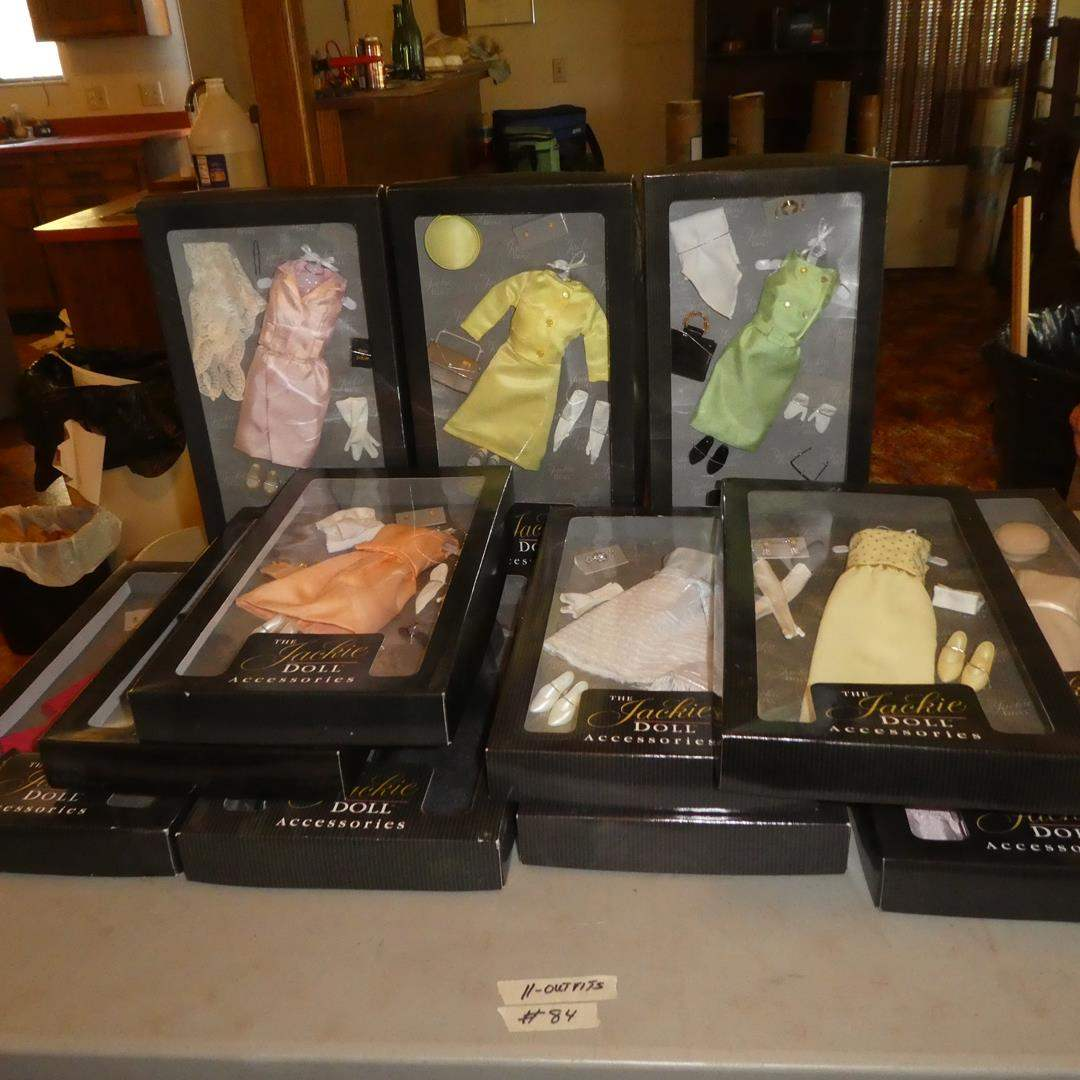 Lot # 84 - The Jackie Doll Accessories - 12 Outfits (NIB) (main image)