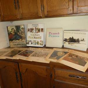 Lot # 85 - Famous Artists Coffee Table Books Including Davinci, Rockwell, Picasso & More