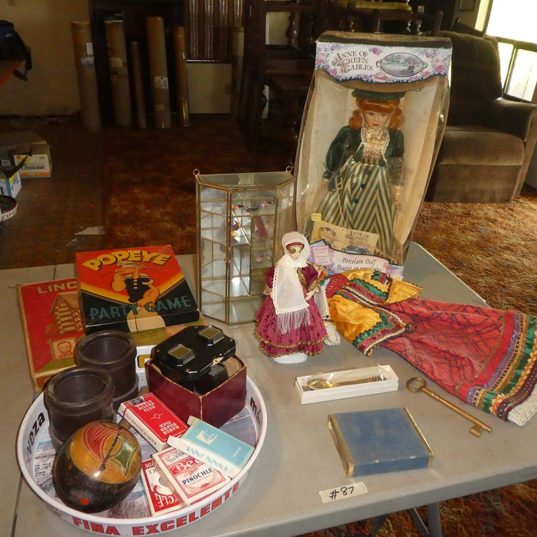 Lot # 87 - Dolls, Miniature Shelf, Playing Cards, Lincoln Logs, Popeye Game, View Masters & More (main image)