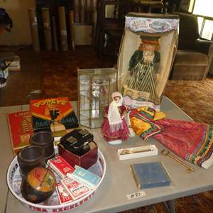 Lot # 87 - Dolls, Miniature Shelf, Playing Cards, Lincoln Logs, Popeye Game, View Masters & More
